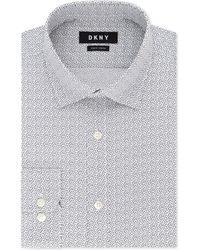 DKNY - Slim-fit Stretch Gray Print Dress Shirt - Lyst
