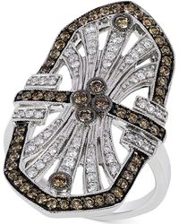 Le Vian - Chocolate And White Diamond Deco Ring (9/10 Ct. T.w.) In 14k White Gold - Lyst