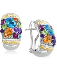 Effy Collection - Multi-stone Omega Earrings (4-9/10 Ct. T.w.) In 18k Gold And Sterling Silver - Lyst
