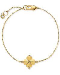 Kate Spade - Gold-tone Crystal Flower Flex Bracelet - Lyst