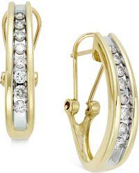 Macy's - Diamond Channel-set J-hoop Earrings (1/2 Ct. T.w.) In 10k White Or Yellow Gold - Lyst