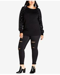 City Chic - Trendy Plus Size Studded-sleeve Sweater - Lyst