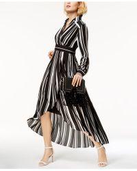 INC International Concepts - Striped Faux-wrap High-low Maxi Dress - Lyst