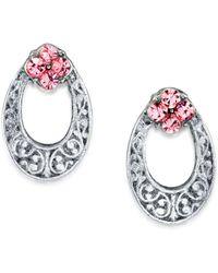 2028 - Silver Tone Light Crystal Oval Stud Earring - Lyst