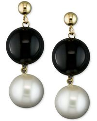 Macy's - Cultured Freshwater Pearl (8-1/2mm) And Onyx (10mm) Drop Earrings In 14k Gold - Lyst