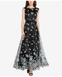 Tahari - Floral-embroidered Mesh Gown - Lyst