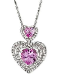 Macy's - Lab-created Pink Sapphire (1-9/10 Ct. T.w.) & White Sapphire (3/4 Ct. T.w.) Double Heart Pendant Necklace In Sterling Silver - Lyst