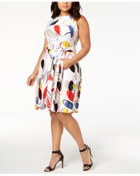 Anne Klein - Plus Size Printed Fit & Flare Dress - Lyst