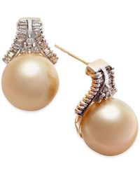 Macy's - Cultured Golden South Sea Pearl (10mm) And Diamond (5/8 Ct. T.w.) Stud Earrings In 14k Gold - Lyst
