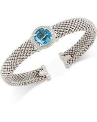 Macy's - Swiss Blue Topaz (4-1/4 Ct. T.w.) And Diamond (1/5 Ct. T.w.) Popcorn Mesh Bangle Bracelet In Sterling Silver - Lyst