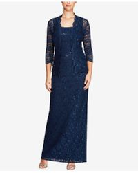 Alex Evenings - Petite Sequined Lace Column Gown & Jacket - Lyst