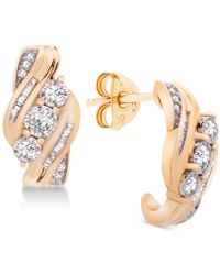 Wrapped in Love - Tm Diamond Three-stone Earrings (1/2 Ct. T.w.) In 14k Gold, Created For Macy's - Lyst