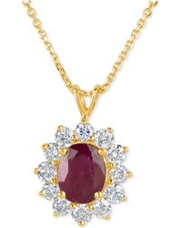 Macy's - Ruby (2-1/5 Ct. T.w.) And Diamond (1 Ct. T.w.) Pendant Necklace In 14k Gold - Lyst