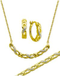 Macy's | Diamond Accent Infinity Hoop Earrings, Collar Necklace And Link Bracelet Set In 18k Gold Over Silver-plate | Lyst
