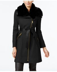 Via Spiga - Kate Faux-fur-collar Mixed-media Coat - Lyst