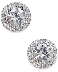 Macy's - White Sapphire (5/8 Ct. T.w.) And Diamond (1/10 Ct. T.w.) Stud Earrings In 14k White Gold - Lyst