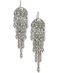 2028 - Silver-tone Multi-chain & Crystal Drop Earrings - Lyst
