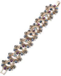 Marchesa - Gold-tone Stone & Crystal Link Bracelet - Lyst