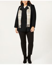 London Fog - Plus Size Double-breasted Peacoat & Scarf - Lyst