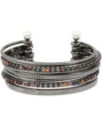 BCBGeneration - Bcbg Crystal & Imitation Pearl Multi-row Cuff Bracelet - Lyst
