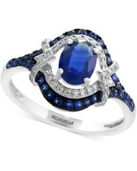 Effy Collection - Sapphire (1-1/5 Ct. T.w.) And Diamond (1/8 Ct. T.w.) Ring In 14k White Gold - Lyst
