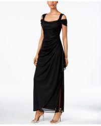 Alex Evenings - Cold-shoulder Draped Metallic Gown - Lyst