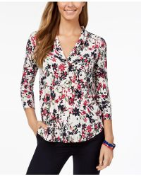 Charter Club - Petite Printed Pleated-neck Top, Created For Macy's - Lyst