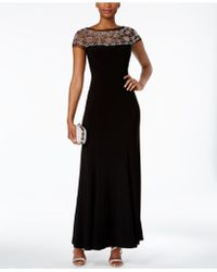 R & M Richards - Beaded-trim A-line Gown - Lyst