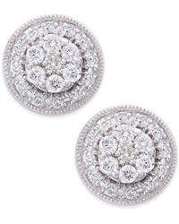 Macy's - Diamond Cluster Round Stud Earrings (1/2 Ct. T.w.) In 14k White Gold - Lyst