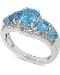 Macy's   Swiss Blue Topaz (2-7/8 Ct. T.w.) & White Topaz (1/5 Ct. T.w.) Ring In Sterling Silver   Lyst