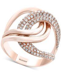 Effy Collection - Diamond Interlocking Loop Ring (3/4 Ct. T.w.) In 14k Rose Gold - Lyst