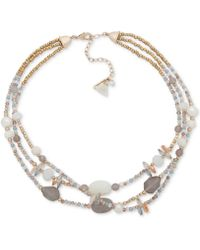Lonna & Lilly - Gold-tone Multicolor Bead Triple Row Collar Necklace, 16