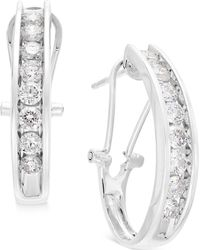 Macy's - Diamond J Hoop Earrings (1 Ct. T.w.) In 10k Gold Or White Gold - Lyst