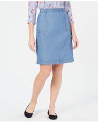 Karen Scott - Cotton Chambray Pull-on Skirt, Created For Macy's - Lyst