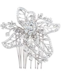 Marchesa - Silver-tone Crystal Openwork Flower Hair Comb - Lyst