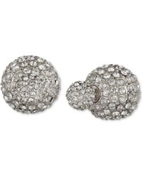 Anne Klein - Silver Crystal Fireball Front And Back Earrings - Lyst