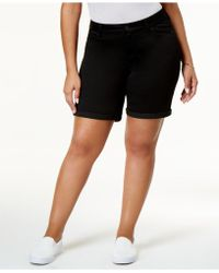 Celebrity Pink - Trendy Plus Size Black Wash Bermuda Shorts - Lyst