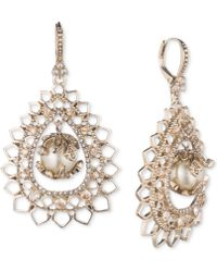 Marchesa - Gold-tone Crystal & Imitation Pearl Openwork Drop Earrings - Lyst