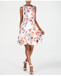 31bdb7872488b Lyst - Tommy Hilfiger Floral-printed Eyelet Fit & Flare Dress in Blue