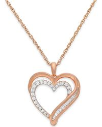 Macy's - Diamond Heart Pendant Necklace In 10k Rose Gold (1/10 Ct. T.w.) - Lyst