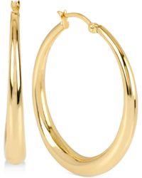 Touch Of Silver - Round Polished Hoop Earrings In 14k Gold-plated Brass - Lyst