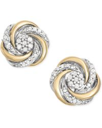 Macy's - Diamond Swirl Stud Earrings (1/10 Ct. T.w.) In 14k Gold And Sterling Silver - Lyst