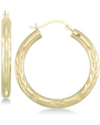 Signature Gold - Tm Diamond Accent Leaf Embossed Hoop Earrings In 14k Gold Over Resin - Lyst