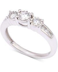 Macy's - Diamond Three-stone Engagement Ring (1/2 Ct. T.w.) In 14k White Gold - Lyst