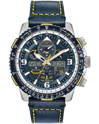 Citizen - Men's Blue 'promaster Skyhawk A-t' Eco Drive Leather Strap Watch Jy8078-01l - Lyst