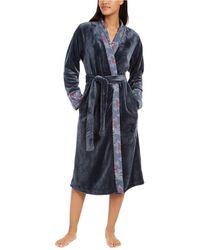 Sesoire French Fleece Long Wrap Robe - Gray