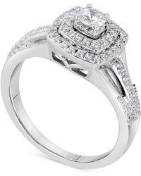 Macy's - Diamond Square Halo Bridal Set (5/8 Ct. T.w.) In 14k White Gold - Lyst