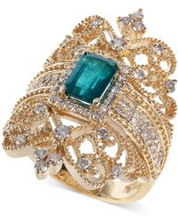 Effy Collection - Emerald (9/10 Ct. T.w.) And Diamond (3/4 Ct. T.w.) Ring In 14k Gold - Lyst