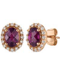 Le Vian | Rhodolite Garnet (1-5/8 Ct. T.w.) And Diamond (1/4 Ct. T.w.) Stud Earrings In 14k Rose Gold | Lyst