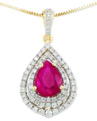 Rare Featuring Gemfields - Certified Ruby (5/6 Ct. T.w.) And Diamond (1/4 Ct. T.w.) Pendant Necklace In 14k Gold - Lyst